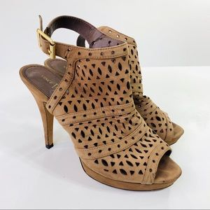 Vince Camuto Heels Mimis Leather Brown Size 7.5B